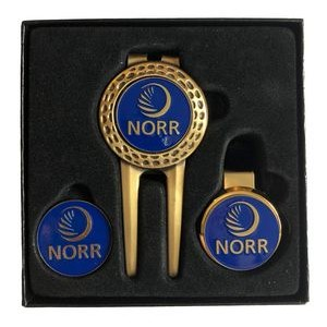 Dimpled Divot Tool Gift Set W/ Money Clip, Hat Clip & Extra Ball Marker