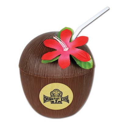 Plastic Coconut Cup w/A Custom Printed Faux Leather Icon