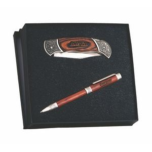 Italica™ Rosewood Twist Action Ballpoint Pen & Pocket Knife Gift Set