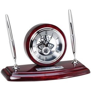 Piano Rosewood Skeleton Desk Clock Pen Set