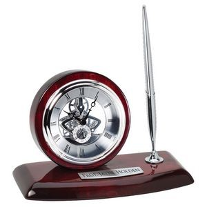 Desk Clock & Pen w/Rosewood Silver Quartz Movement Clock