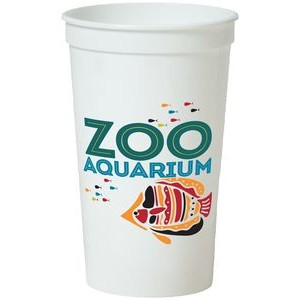 22 Oz. Smooth White Stadium Cup (6 Color Offset Printed)