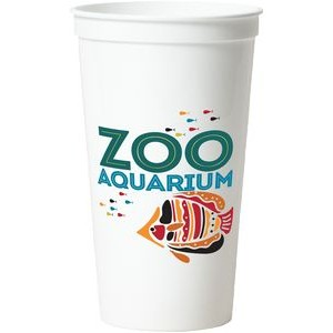 32 Oz. Smooth White Stadium Cup (7 Color Offset Printed)
