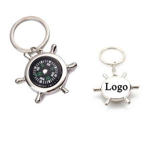 Creative Rudder Compass Shape Metal Key Chain