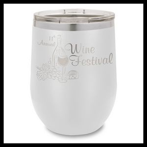 12 Oz. White Stainless Steel Stemless Wine Tumbler
