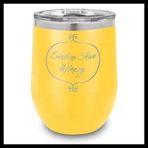 12 Oz. Yellow Stainless Steel Stemless Wine Cups