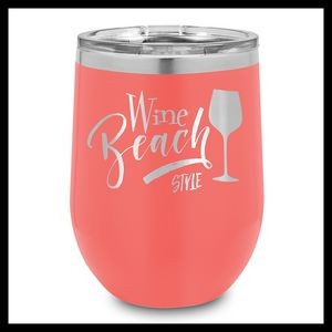12 Oz. Coral Stainless Steel Stemless Wine Cups