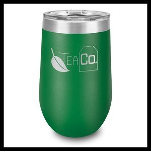 16 Oz. Green Stainless Steel Stemless Wine Cup