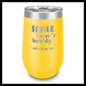 16 Oz. Yellow Stainless Steel Stemless Wine Cup