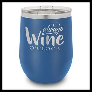 12 Oz. Royal Blue Stainless Steel Stemless Wine Cup