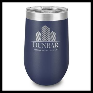 16 Oz. Navy Stainless Steel Stemless Wine Cup