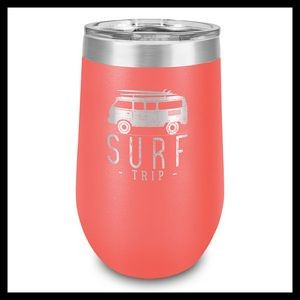 16 Oz. Coral Stainless Steel Stemless Wine Cup