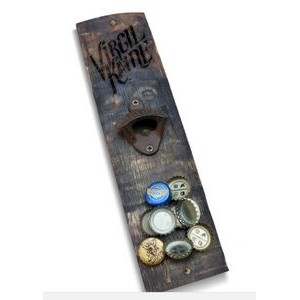 Magnetic Wall Mounted Reclaimed Wood Bottle Opener Lasered