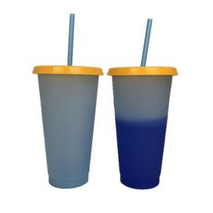 Color Changing 24oz Cold Stadium Cups with Straws & Lids