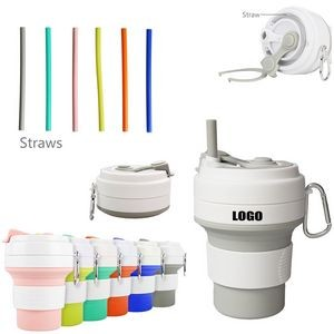 350ml Silicone Collapsible Cup With Straw