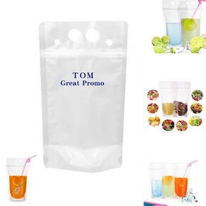 350ML Transparent Juice Pouch With Straw