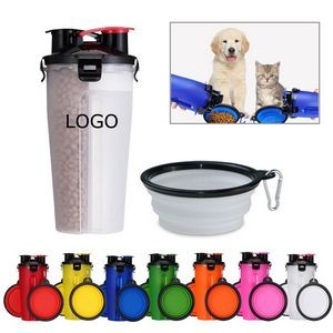 Pet Food Water Bottle With Bowl