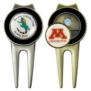 Spectrum Golf Divot Repair Tool w/ Belt Clip (Laser Printed Ball Marker)