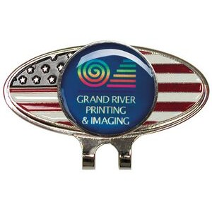 American Flag Oval Hat Clip w/ Golf Ball Marker (Laser Printed Marker)