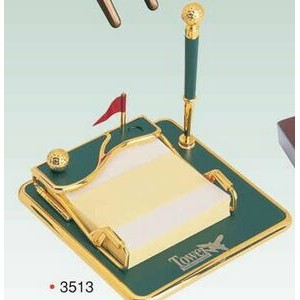 Gold Plated Pen Holder/ Notepad/ Ball Pen (Screened). ON SALE - LIMITED STOCK