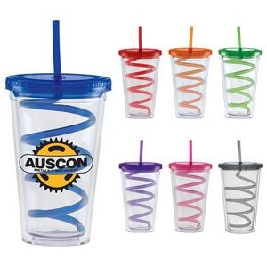 20 Oz. Carnival Cup w/Color Curly Straw & Color Lid