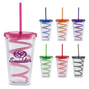 16 Oz. Carnival Cup w/Color Curly Straw & Color Lid