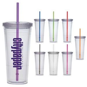 24 Oz. Carnival Cup w/Color Straw & Clear Lid