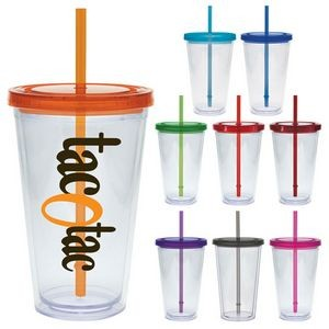 20 Oz. Carnival Cup w/Colored Straw & Colored Lid