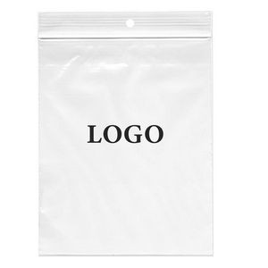 "Ziplock Bags 4 Mil. (Ink Imprinted) 8"" x 10"" Clear With Hang Hole"
