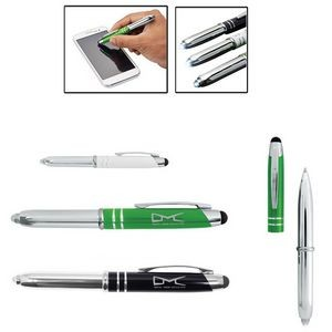 Executive 3-in-1 Metal Pen Stylus w/LED Light