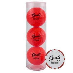 3-Ball Tube w/ Colored Golf Balls & Poker Chip Ball Marker