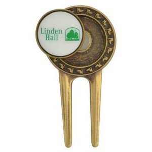 Brass Divot Tool W/Die Struck Magnetic Ball Marker - Plain Back