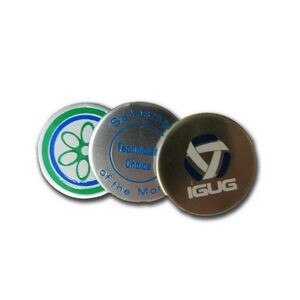 "Gold/Silver- Color Coated Golf Ball Marker / Screen Printed (3/4"" Diameter)"
