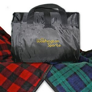 Embroidered Plaid Patterned Picnic Blanket