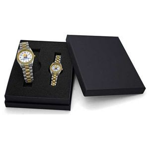 Designer Bracelet Watch Set with Gold Tone Brass Ring & Stainless Steel Bracelet Band
