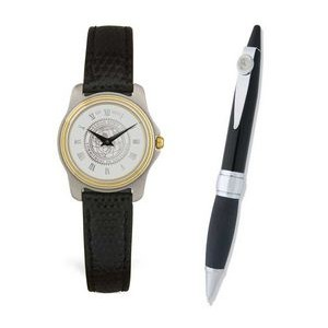 Ladies' Watch w/Black Leather Strap and Pen