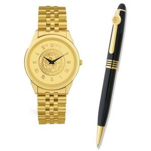 Men's Gold ION Plated Watch & Pen Set w/Presentation Box