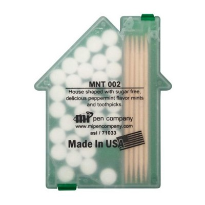 House shaped Mints/Toothpicks - Translucent Green