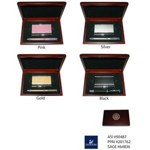Metal Card Holder and Pen Set with Swarovski Crystal Decoration in Wood Box