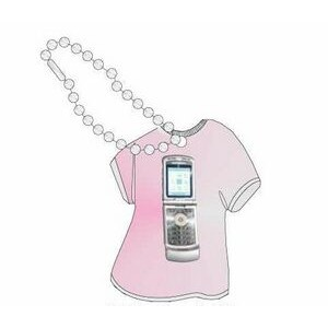 Cell Phone Promotional T Shirt Key Chain w/ Black Back (4 Square Inch)