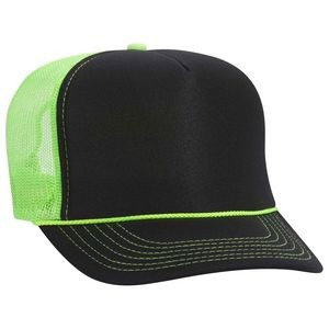OTTO Polyester Foam Front Neon Mesh Back 5 Panel High Crown Mesh Back Trucker Hat