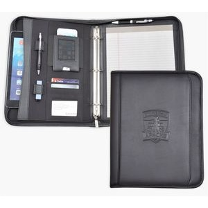 "Zippered Letter Size 1"" ring binder/Portfolio, iPad/iPhone case, Black soft simulated leather."