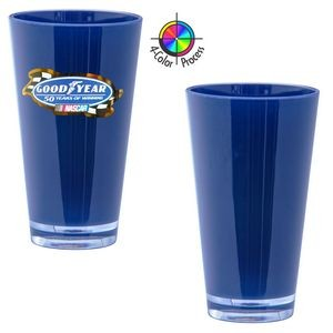 16 Oz. Navy Blue Acrylic Pint Mixing Glass with Clear base 4 Color Process