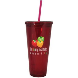 24 Oz. Blue Tall Acrylic Double Wall Chiller Cup & Straw (4 Color Process)