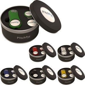 Pitchfix XL 3.0 Deluxe Set w/Hat Clip - Tool & 1 Additional Marker and 1 Hat Clip in Round Tin