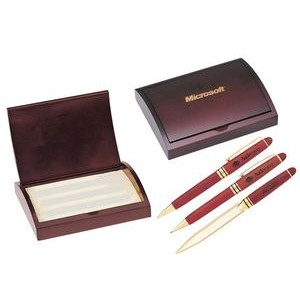 Rosewood Ball Point Pen, Mechanical Pencil and Letter Opener Gift Set