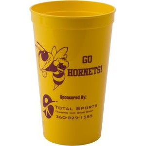 22 oz. Smooth Walled Plastic Stadium Cup with Automated Silkscreen Imprint