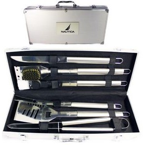 6 Piece Stainless BBQ Tool Set in Aluminum Case