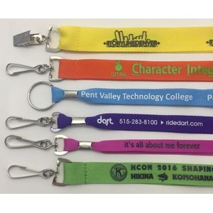 "7/8"" Custom printed lanyards with your choice of split ring, swivel hook or badge clip"