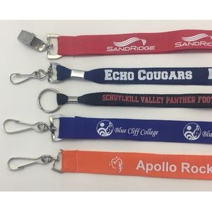 "3/4"" Custom Printed Polyester Lanyard w/ Your Choice Of Swivel Hook, Badge Clip or Split Ring"